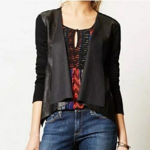 Anthropologie Sweaters - Sunday's in Brooklyn Faux Leather Open Cardigan